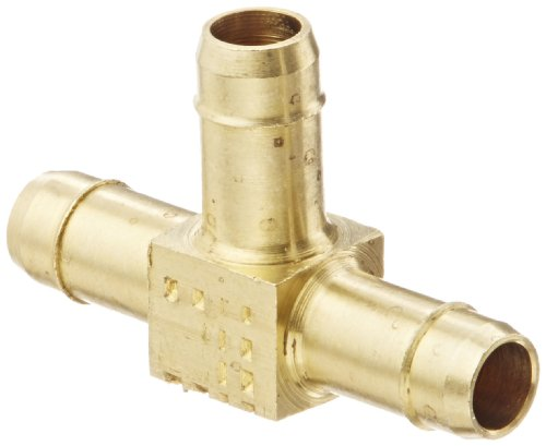 "Eaton Weatherhead 1064X6 Brass Ca360 Mini-Barb Brass Fitting, Union Tee, 3/8"" Tube Od front-545689"