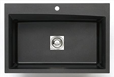 Astracast WC10MB Pegasus Dual Mount Granite 33x22x10 1-Hole Large Single Bowl Kitchen Sink in Metallic Black