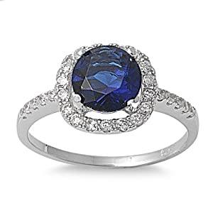 Sterling Silver Round Simulated Blue Sapphire Halo Ring - Size 6 from SilverCloseOut