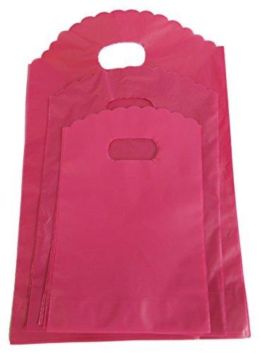Emballage-de-100-uni-couleurs-vives-bleu-rose-ou-jaune-mode-plastique-magasin-march-sac-de-courses-cadeau-prsent-sac-de-soire-3-tailles-13cmx12cm-17cmx15cm-ou-21cmx18cm-Uni-Rose-Fluo-Petit-Taille-Uniq