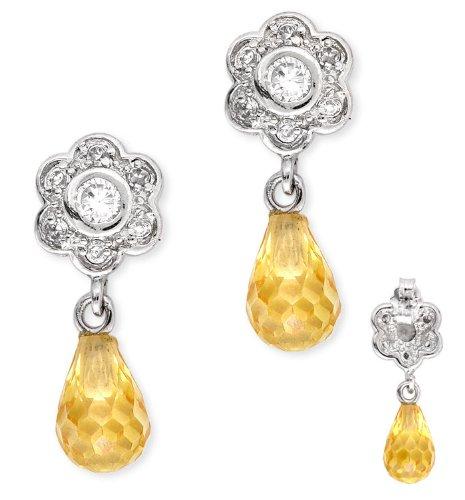 Round C.Z. Diamond Flower Dangling C.Z. Canary Briolette Earrings