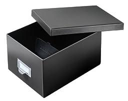 Globe-Weis/Pendaflex Fiberboard Index Card Storage Box, 5 x 8 Inches, Solid Black (5X8BLA)