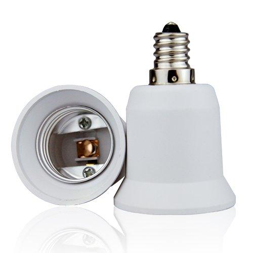 Lighting EVER Candelabra Screw (E12) to Medium Screw (E26) Enlarger Light Bulb Socket Adapter, Pack of 2 Units