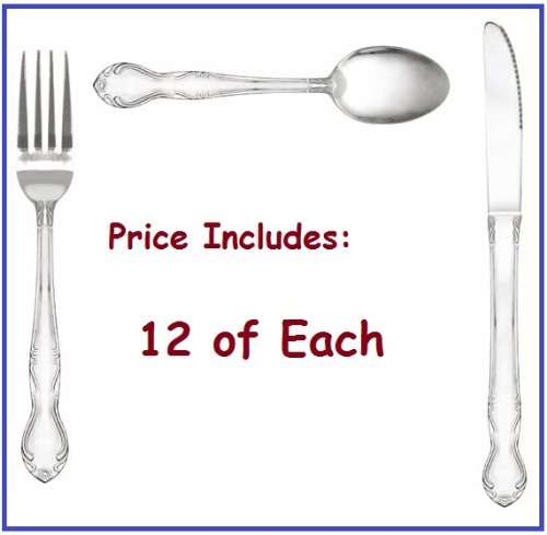 """Set Of: Dinner Forks, Knife, Tea Spoons, Sunflower Flatware With Bright Finish! """"1 Dozen Of Each"""" *Great Quality*"""