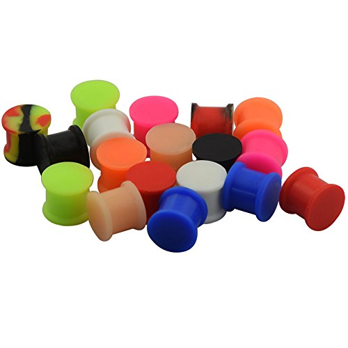 Longbeauty 9 Pair Solid Silicone Double Flared Saddle Tunnels Ear Plug Gauges Glow in Dark 8MM (Glow In The Dark 0 Gauge Plugs compare prices)