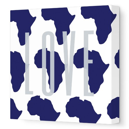 """Avalisa Stretched Canvas Nursery Wall Art, Africa Love Pattern, Navy, 18"""" X 18"""" front-1012344"""