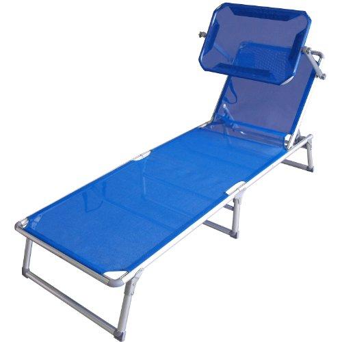 Gartenstuhl Klappstuhl Liegestuhl Gartenliege Sonnenliege Liege Textilenbespannung 5-fach verstellbar mit Sonnenschutz - Blau