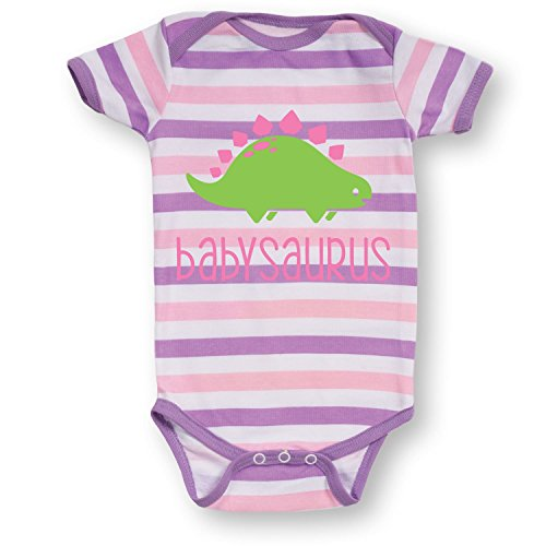 Babysaurus Stegosaurus Dino Dinosaur Nursery Animal Cartoon Infant Baby Bodysuit (Baby Dinosaur Cartoon)