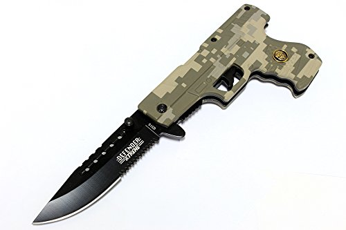 """8"""" Digital Camo Gun Style Spring Assisted Knife with Belt Clip"""