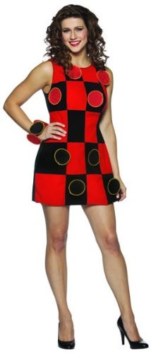 Black & Red Checker Board Game Dress Costume Adult