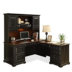 Shaped Computer Desk with Hutch by Riverside - Home Office Desks