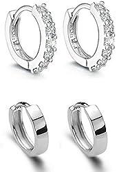 AMBESTEE Women Girls Fashion Jewelry 925 Diamond Rhinestones Sterling Silver Earrings Studs Set
