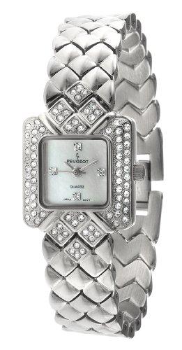 Peugeot Women's 768S Silver-Tone Swarovski Crystal Accented Bracelet Watch