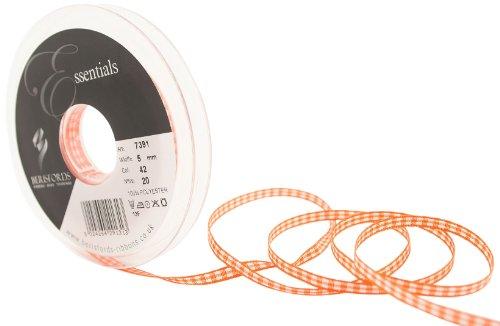 Berisfords 7391 Ruban Vichy traditionnel 20 m x 5 mm, Orange carotte