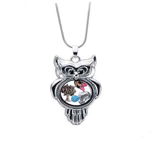 Mbox Custom Living Floating Charm Memory Locket Necklace With Snake Chain (18Inch Chain-Rhodium Owl)