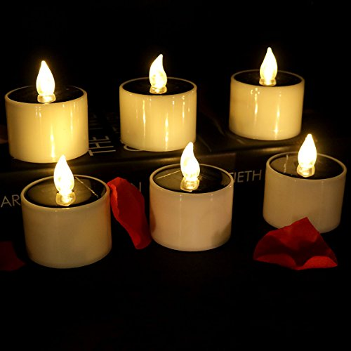 Micandle Set of 6 Warm White Flicker Solar Power Electric Candles,Flameless Battery Operated Tea Lights For Window (Solar Powered Window Candles compare prices)