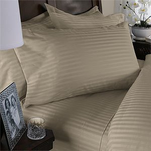 Tan (Beige) Damask Stripe California King Luxury SIBERIAN GOOSE DOWN comforter 750FP FOUR piece set