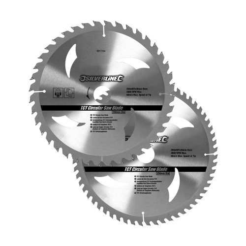 silverline-991704-2-lame-circolari-tct-40-e-60-denti-250-x-30-anelli-di-riduzione-20-16-mm