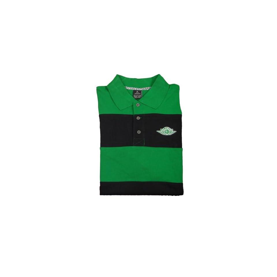 Nike Air Jordan Mens Short Sleeve Polo Shirt Green Black