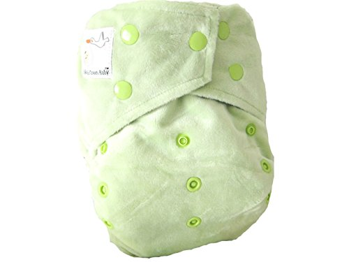 "Kawaii Baby Bamboo Charcoal One Size Pocket Cloth Diaper with 2 Four Layers Inserts "" Springhill Green "" - 1"