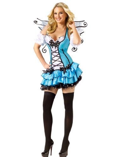 Short Sexy Blue Fairy Costume Dress Wings Ruffles Womens Theatrical Costume