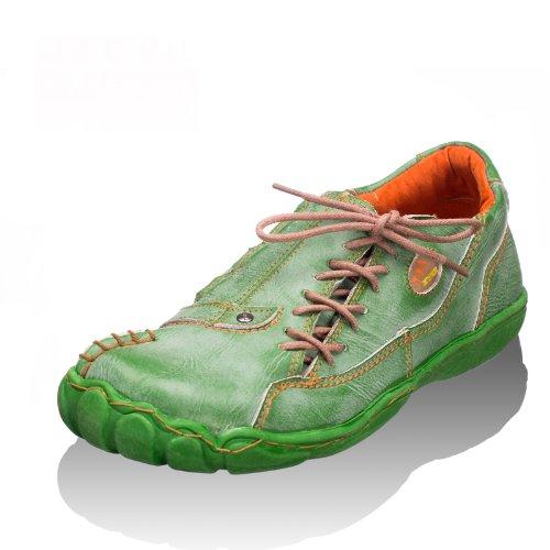 TMA EYES 1905 Schnürer Gr.36-42 mit bequemen perforiertem Fußbett , Leder 39.35 super leichter Schuh der neuen Saison. ATMUNGSAKTIV in Grün Gr. 36