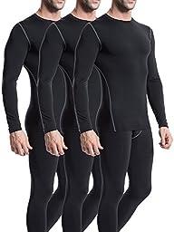 Neleus Men\'s 3 Pack Athletic Compression Sport Running T Shirt Long Sleeve Base Layer,Black,Medium