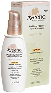 Aveeno Positively Radiant Daily Moisturizer SPF 30, Fair to Light Tint, 2.5-Ounce Tubes