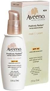 Aveeno Positively Radiant Daily Moisturizer SPF 30, Fair to Light Tint, 2.5-Ounce Tubes