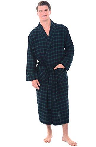 Del Rossa Men's Flannel Robe, Soft Cotton Bathrobe, 3XL Blue and Green Plaid (A0707P233X) (Cool Bath Robes For Men compare prices)