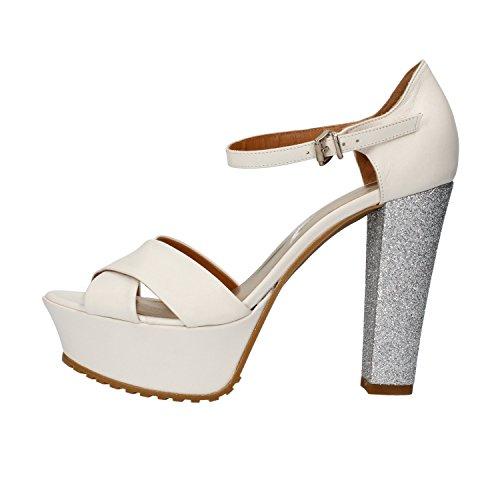 SERGIO CIMADAMORE sandali donna 38 EU bianco pelle argento glitter AF483-B