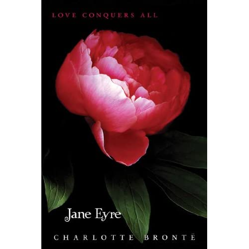 Twilight-inspired Jane Eyre cover with the tagline 'LOVE CONQUERS ALL'