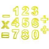 Lot de 14 découpoirs emporte-pièces chiffres mathématique jaune en plastique pour biscuit gâteau cookie pâtisserie par KurtzyTM...