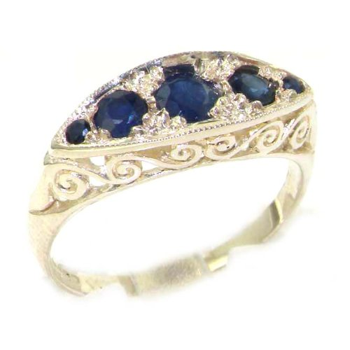 Carved Solid English Sterling Silver Natural Sapphire Ring - Size 12 - Finger Sizes 5 to 12 Available - Suitable as an Anniversary ring, Engagement ring, Eternity ring, or Promise ring