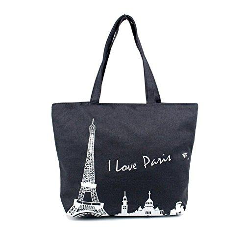 Borsa a tracolla Clode® Donne Canvas Borsetta Shopping Spalla Borsa Parigi Torre Eiffel Libro Tote Borsa (Colour : D)