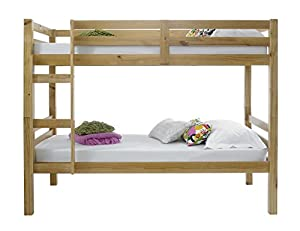 Happy Beds Bunk Bed Straight Solid Pine Wood Two Sleeper Children Luxury Spring Mattress 3' Single 90 x 190 cm