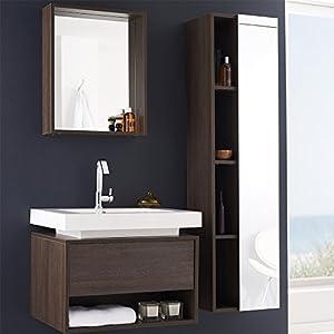 Ensemble meubles suspendu salle de bain pose mural - Meuble salle de bain bois fonce ...