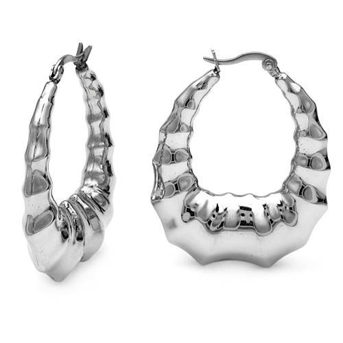 Stainless Steel Hoop Ladies Earrings. Length 42 mm. Total Item weight 14.5 g.
