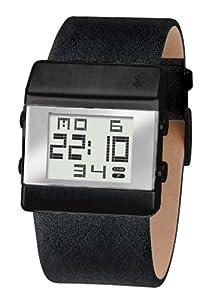 Black Dice Men's Watch BD 022 06 Heist Solid Ip Black Stainless Steel Case And Genuine Black Leather Strap