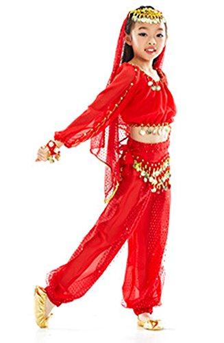 AvaCostume Girl's Belly Dance Costume Set Long Sleeve Top Pant Gold Coins