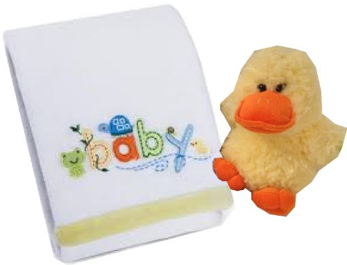 Carter's Sweet Baby Blanket, White with a Super Soft Plush Duck