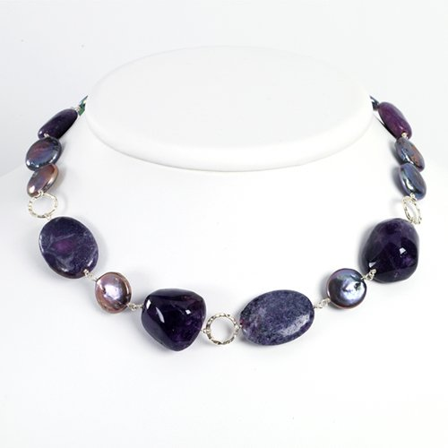 Sterling Silver Amethyst/Charmoite/Purple Cultured Pearl Necklace - 18 Inch