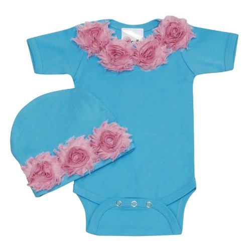 Lollipop Moon Shabby Chic Turquoise Baby Romper Set front-996133
