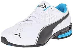 PUMA Men\'s Tazon 6 Wide Sneaker, White/Black/Atomic Blue, 7 W US