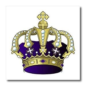 foto de Amazon com: 3dRose ht 41671 2 Royal Purple N Gold Crown Iron on Heat Transfer for White Material