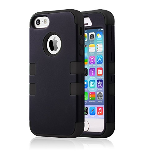 iPhone SE Case, iPhone 5S Case, KAMII 3 in 1 PC+Silicone Hybrid Shockproof Shock Absorption / High Impact Resistent Full Body Hybrid Armor Protection Defender Case Cover (Black+Black) (Marvel Silicone Iphone 5s Case compare prices)