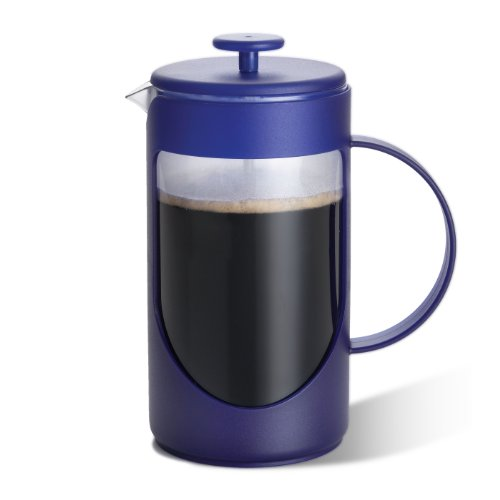 BonJour Ami-Matin Blue Unbreakable French Press with Flavor Lock Brewing System, 8 Cup