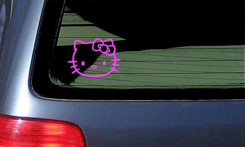 HELLO KITTY – Cat Feline – Car, Truck, Notebook, Vinyl Decal Sticker #1093 | Vinyl Color: Pink