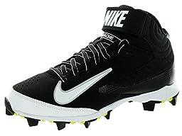 Nike Kids Huarache Keystone 3/4 Bg Black/White Baseball Cleat 1 Kids US