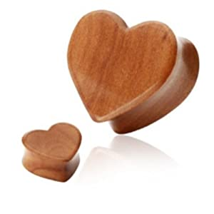 "Pair (2) Cherry Wood Heart Ear Plugs Double Flare Organics - 9/16"" 14MM"
